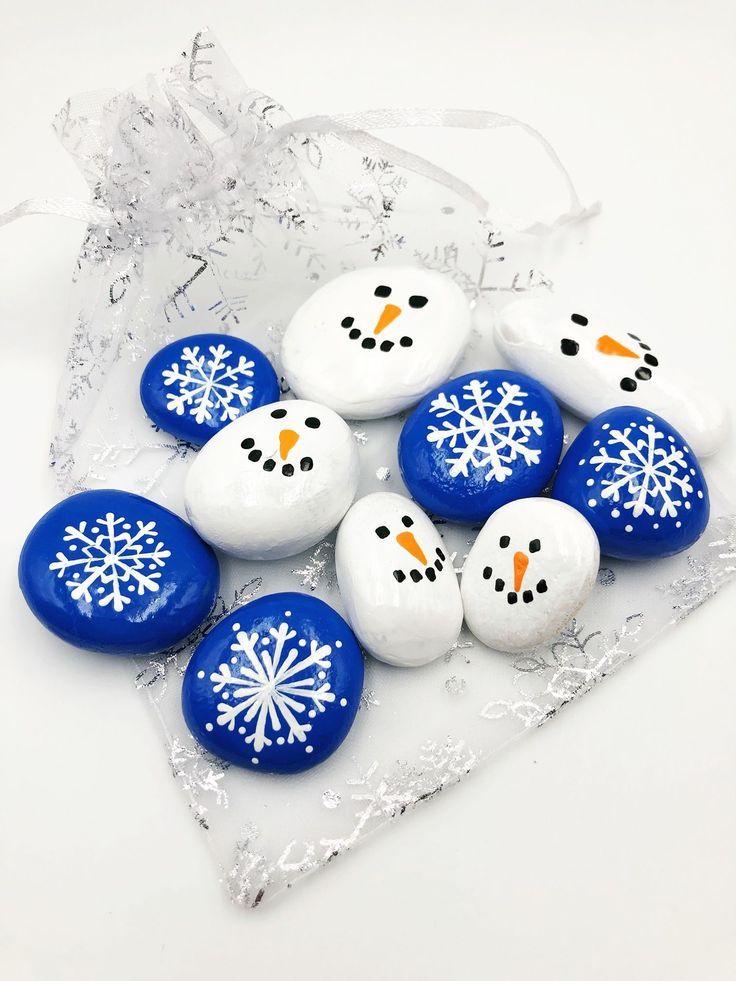 Snowflake and Snowman Pocket Rocks, Snowman and Snowflake Pebbles Set of 10, Snowflake and Snowman Stones, Snowman and Snowflake Tic Tac Toe