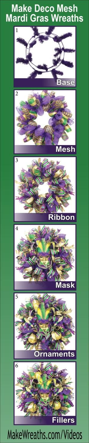 """SAVE MONEY AND MAKE YOUR OWN!...Learn step-by-step how to make SPECTACULAR Deco Mesh Mardi Gras Wreaths. Learn to make a perfect base using THREE types of mesh, add ribbon, masks, ornaments and throw beads. List of supplies and vendors included. Click the picture to get FULL ACCESS... #decomesh #wreaths #DIY #mardigras by isabel"
