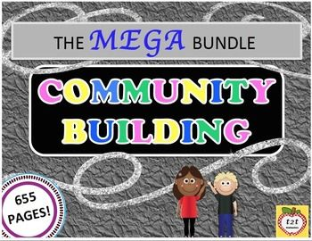 """In Community Building the BUNDLE, by the2teachers, you will receive  6 full products """"zipped"""" together.  You are getting 655 pages of community building activities!WHAT IS INCLUDED IN THIS BUNDLE?You will get the full products of EACH of the following:- 200 Questions-of-the-Day  - 40 Community Building Activities - Featured on TpT's Blog- Community Building Through Find Someone Boards - Community Building Through a Year of Glyphs - Community Building Through Get Up and Move..."""