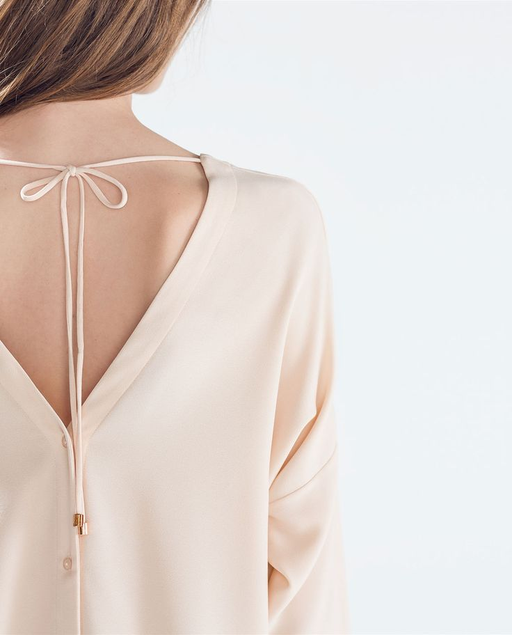 Nude Pink Long sleeve blouse with back buttons | ZARA