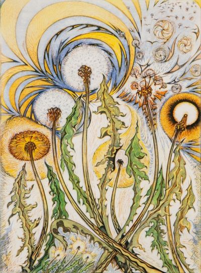 Dandelions Rejoicing 40/50 by Richard Calver, 1990 linocut print.  See it at Art Toronto 2015, Mayberry Fine Art Booth A49