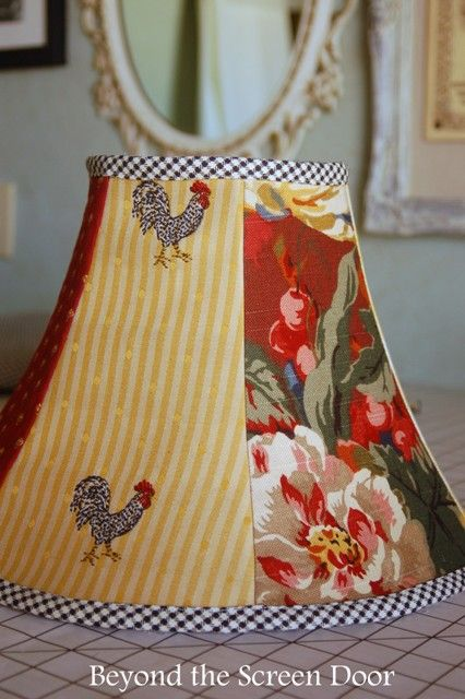Creating a Lamp Shade Slipcover with Six Different Fabrics | Beyond the Screen Door