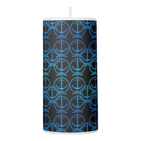Nautical Blue Anchor Motif Candle
