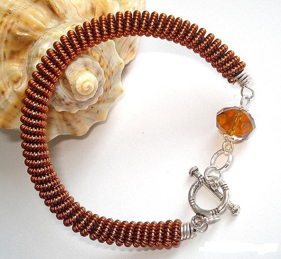 Bracelet spring  memory wire wrapped spring copper by OGEjewelry