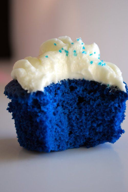 Blue velvet cupcake with Vanilla icing.  Put a strawberry or cherry on top and would be great to serve for July 4th