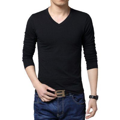 Material: Spandex, Cotton  Sleeve Length: Full  Collar: V-Neck  Style: Casual  Weight: 0.5KG  Package Contents: 1 x T-Shirt  Pattern Type: Solid
