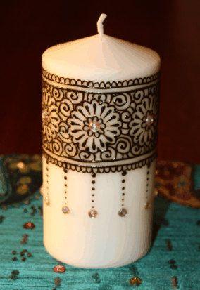 3x6 inch white Henna Candle by NewWorldHenna on Etsy