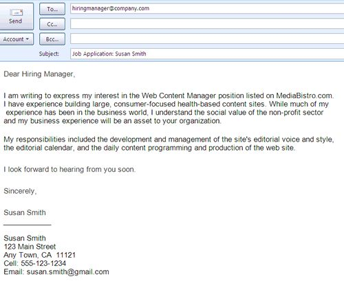 Job Search Email Message Examples : Sample Job Application Email Message