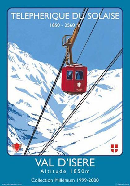 Vintage french #travel poster. Telepherique du Solaise. Val d'Isere, #France