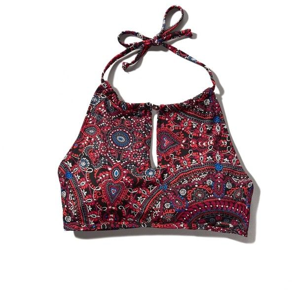 Abercrombie & Fitch Halter Scuba Swim Top (245 UYU) ❤ liked on Polyvore featuring tops, bikini, shirts and burgundy pattern