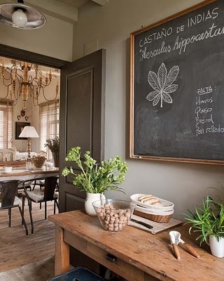 dark gray trim: Dining Rooms, Wall Colors, Paintings Doors, Gold Frames, Rustic Table, Kitchens Chalkboards, Chalk Boards, Natural Wood, Chalkboards Wall