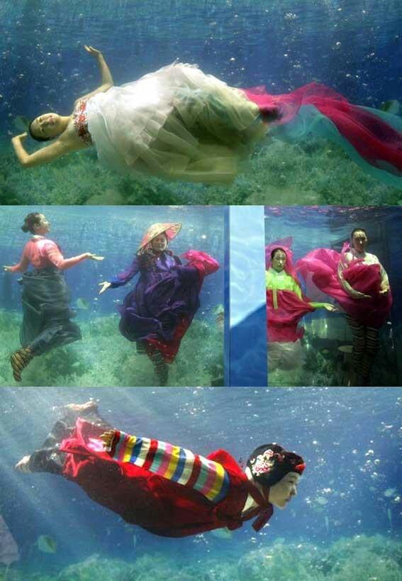 Underwater Hanbok Fashion Show -hanbok by designer Park Sul-nyeo
