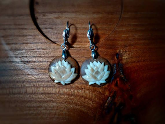 Earrings, Lotus flower, natural reindeer antler, stabilized walnut,gift for girlfriend, bone carving, carved bone, handmade jewelry.