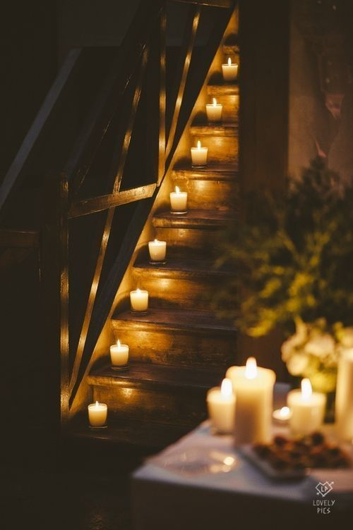 Candles on a stairway