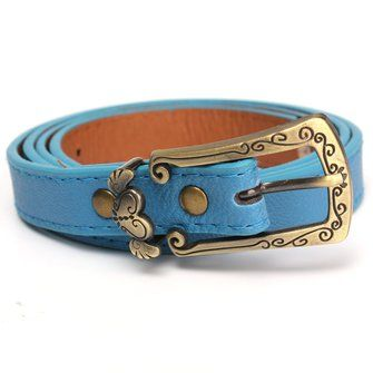 Women Ladies Faux Leather Thin Skinny Waist Belt Metal Carving Buckle Waistband at Banggood