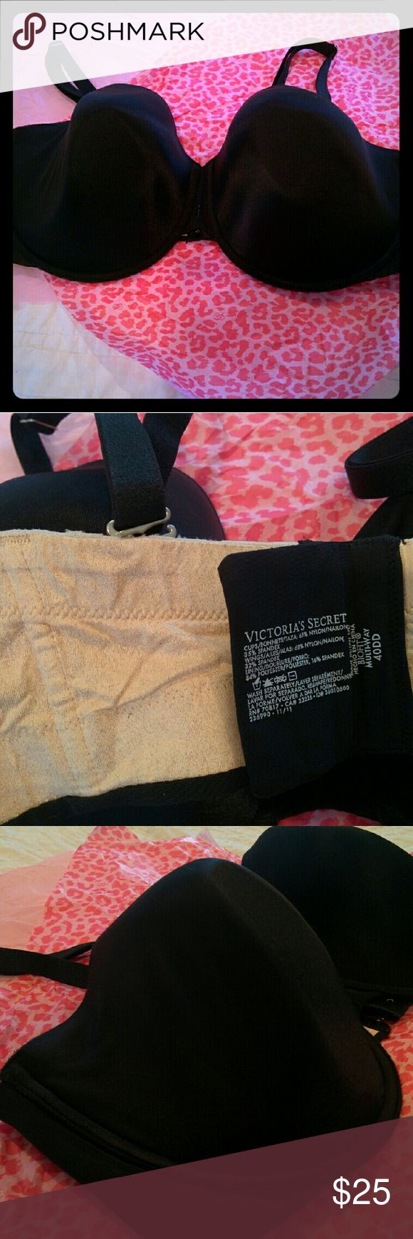 """Victoria Multi-way black bra converts to strapless Victoria's Secret black bra, no frills or lace. """"Multi-Way Biofit"""". Straps are adjustable in length & location on bra, can be removed completely to go strapless. Molded cups for shape & support. See photo 2 for materials. Size 40DD, fits to size. Good used condition. Victoria's Secret Intimates & Sleepwear Bras"""