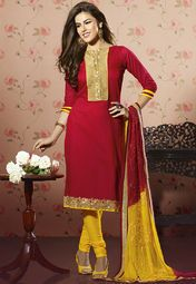 Red Embroidered Dress Material