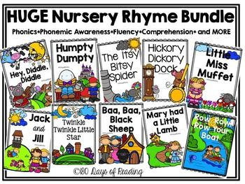 This is a bundle of all of my Nursery Rhyme packs. Each pack contains reading activities that go with the Nursery Rhyme listed. Activities will include first sound, middle sound, ending sound, segmenting, blending, rhyming, sequencing, retelling, and much much more.