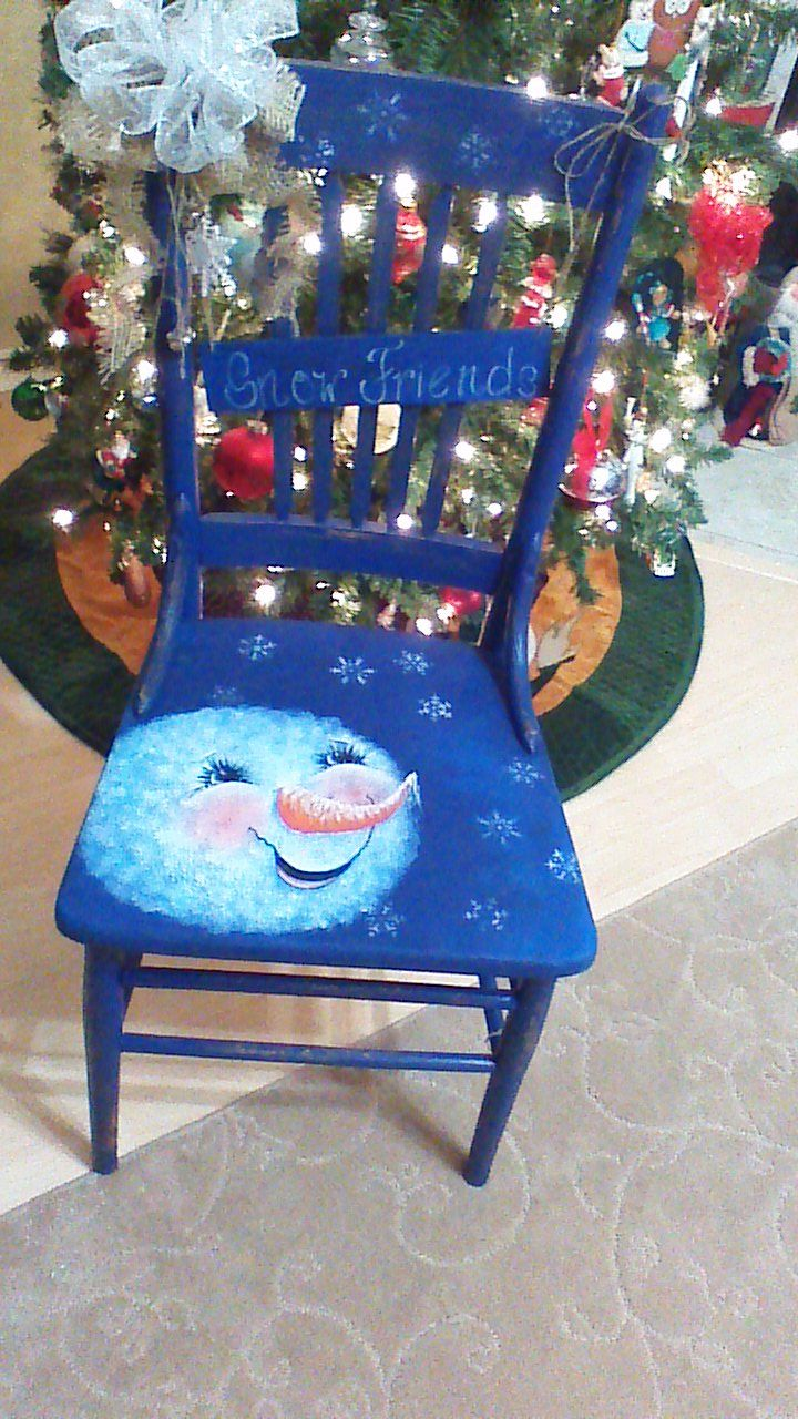Hand Painted Snowman Chair By Carolyn Roach Painted