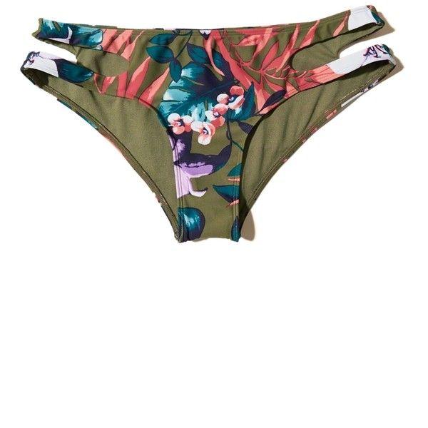 Hollister Cutout Cheeky Swim Bottom ($15) ❤ liked on Polyvore featuring swimwear, bikinis, bikini bottoms, olive floral, cut-out bikinis, cut out bikini, army green bikini, bikini bottom swimwear and olive green bikini bottoms
