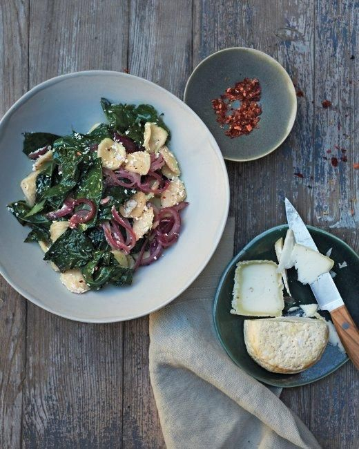 Tuscan Kale with Orecchiette Recipe: Orecchiett Recipes, Tuscan Kale, Pickled Onions, Pasta Recipes, Red Onions, Northern Italy, Pasta Dinners, Martha Stewart, Goats Cheese