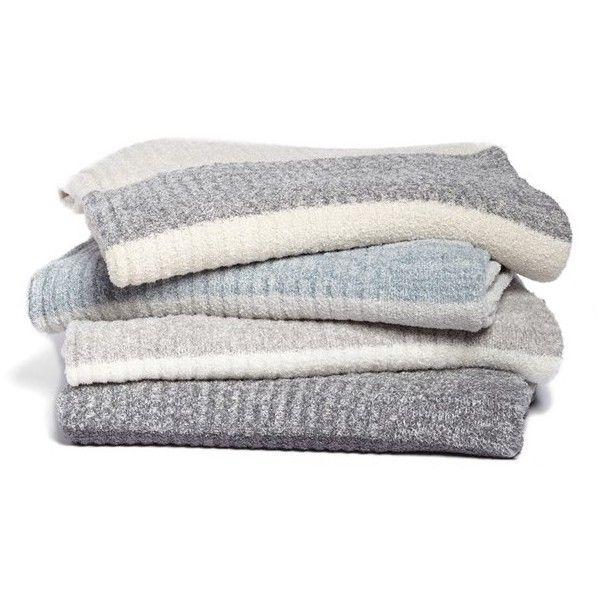 Barefoot Dreams Heathered Stripe Throw ($135) ❤ liked on Polyvore featuring home, bed & bath, bedding, blankets, accessories, decor, fillers, barefoot dreams throw, stripe bedding e stripe throw