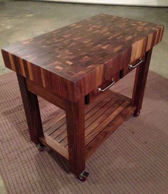 Beautiful Black Walnut End Grain Butcher Block Kitchen Cart Wood Counter Top Or Cutting Board