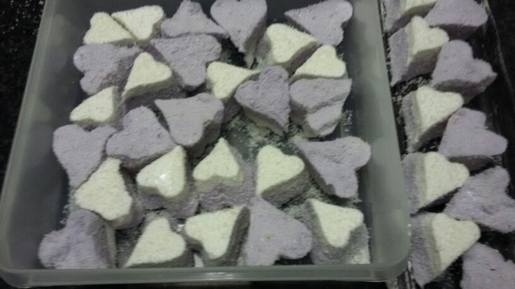 Heart shaped purple & white marshmallows