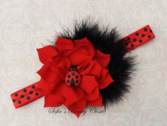 Ladybug headband. Red headband. Baby red by SofiasBeautyCloset