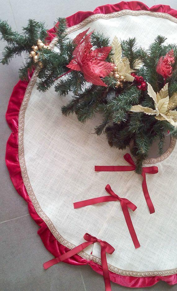 SALE  Burlap Tree Skirt  Burlap and Velvet by AJRUSTICCREATIONS