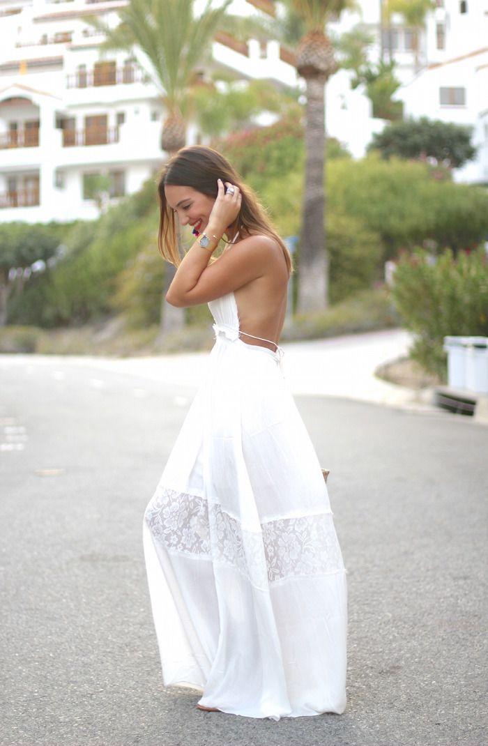 backless summer white maxi dress