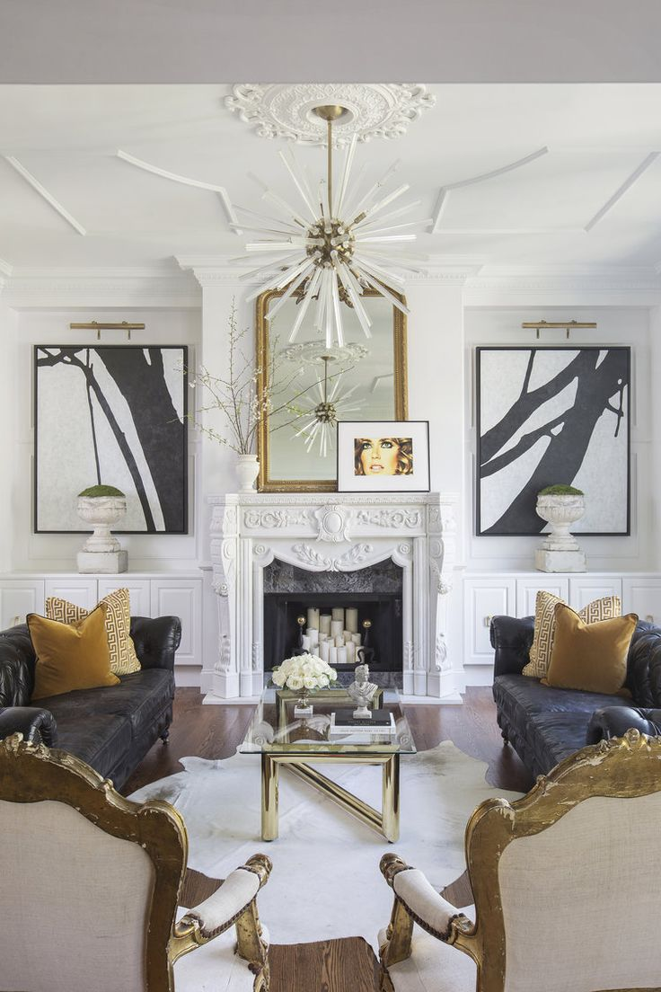 Abstract Room Designs: Love The Abstract Black And White Art Flanking Either Side