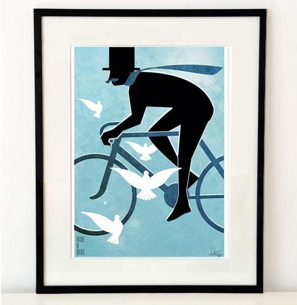 """""""Ride a bike"""" illustration A3 - Mode & människor - TAVLOR & POSTERS"""