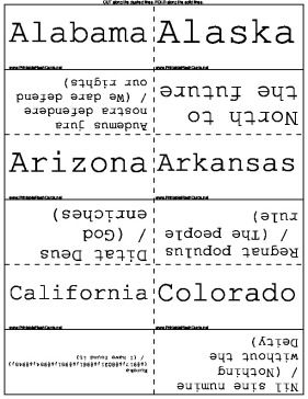 This flashcard set covers the state mottos of all 50 states of the United States of America, as well as the District of Columbia. Translations are provided where applicable. Free to download and print