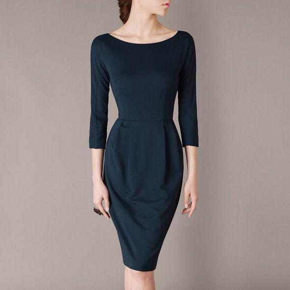 2013 Autumn Dress Dark Blue Dresses Three-Quarter Sleeve Elegant Office  Suit Women Formal Dress