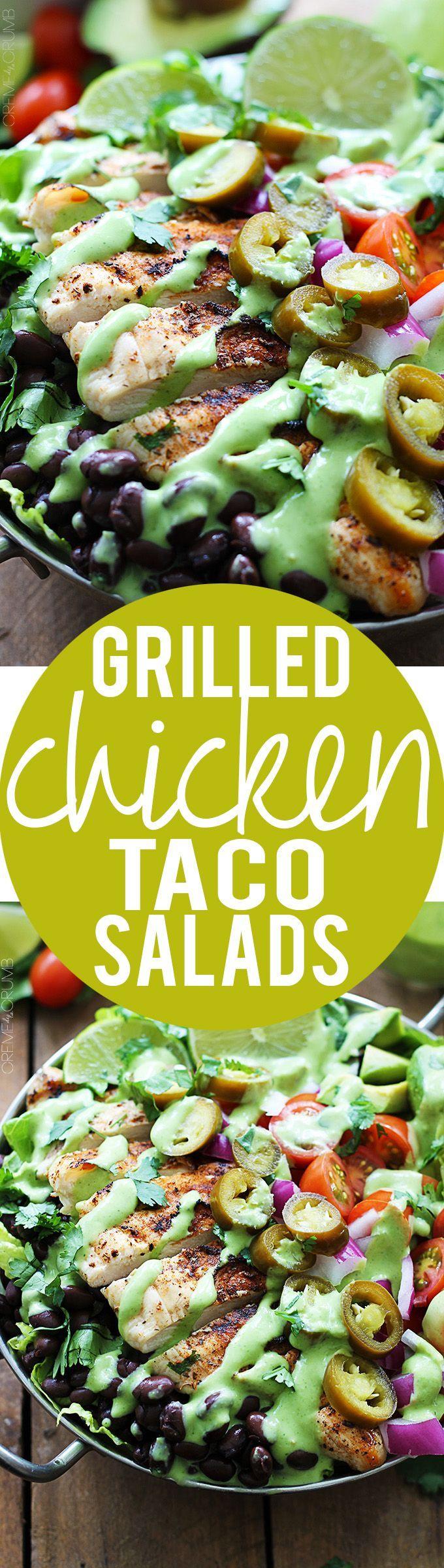 Grilled Chicken Taco Salads with Cilantro Lime Jalapeño Dressing | Creme de la Crumb