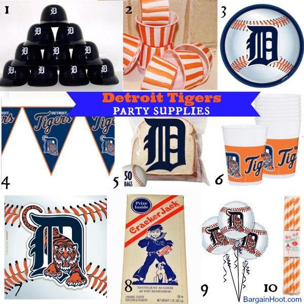 Detroit Tigers #BaseballParty Supplies. #Baseball theme party, #Detroit Tigers,  #Boypartyideas, #Baseballparty www.bargainhoot.com