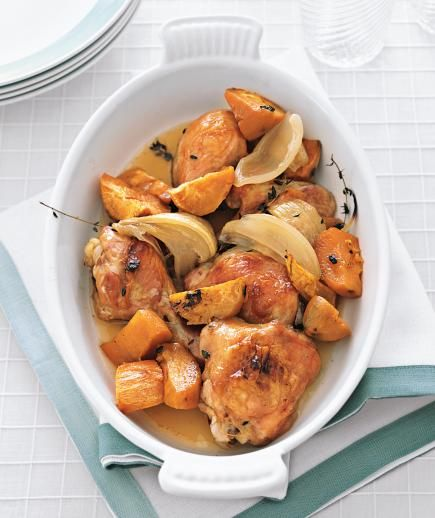 Maple-Roasted Chicken with Sweet Potatoes: At the grocery store, you can save a little bit of money by purchasing a whole chicken instead of the breasts. This recipe utilizes the whole bird and cooks in one dish, making cleanup a breeze. Simply cut the poultry into eight pieces, toss with a maple syrup glaze, and bake.