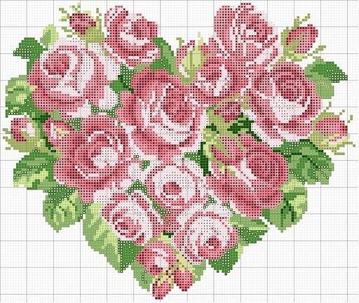 Roses heart--shaped wreath cross stitch pattern.
