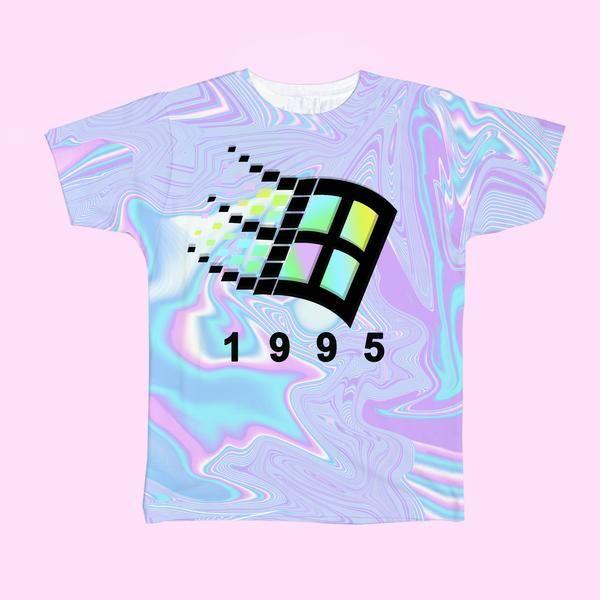90s Holographic Aesthetic Vaporwave Windows 1995 Pastel Art American Apparel T shirt by koko, ®kokopie