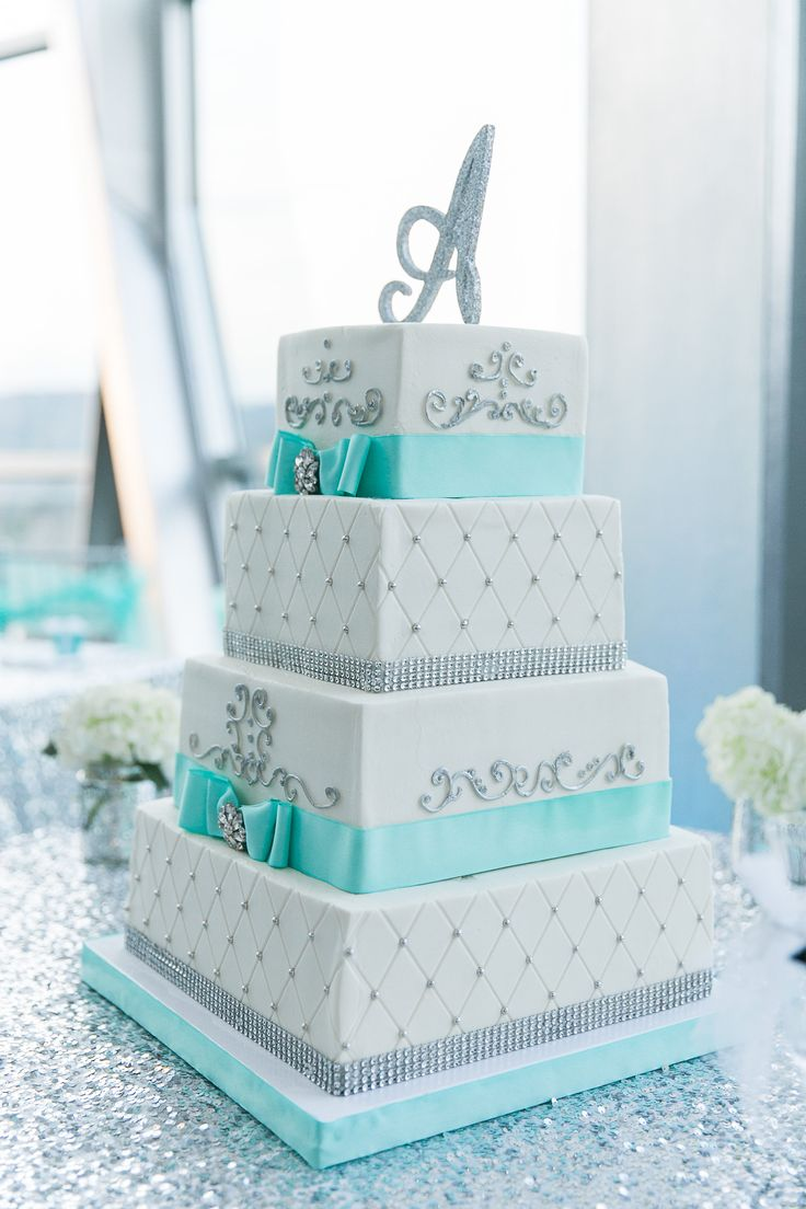 The blue cake company wedding cakes birthday cakes 2016 car release - Tiffany Blue And Silver Wedding Cake Idea I Like The Color And The Letter Cake Topper