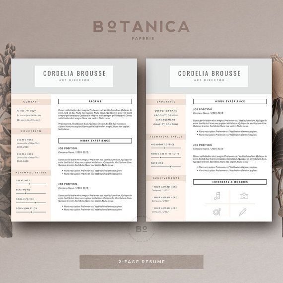4 page resume template professional resume cover letter for ms word and pages clean cv template modern resume design - Resume Templates Microsoft