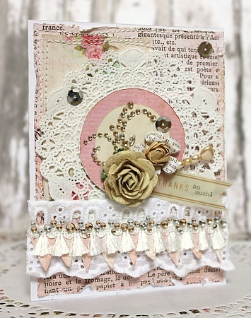 Gorgeous handmade card with hand stitched papers, lace, doily, lovely flowers and flourishes to name some of the  details that give it a definite shabby chic appeal. ♥ Love ♥