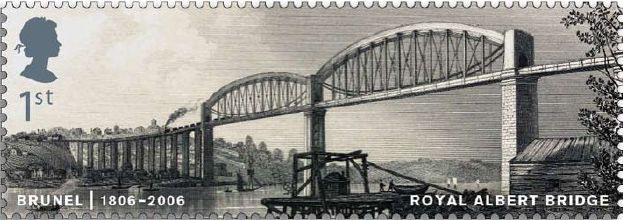 1st class stamp - the Royal Albert Bridge over the River Tamar.