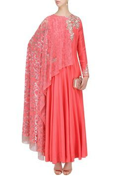 Description Featuring a coral kurta in dupion crepe fabric with champagne embroidery. It comes along with coral pant in dupion crepe fabric and kashmiri net one sided drapped dupatta with fringes.   FIT: Fitted at bust. COMPOSITION: Dupion crepe, net. CARE: Dryclean only.
