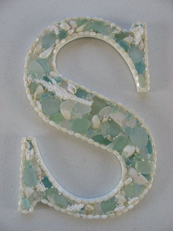 "OOAK Mosaic Art  Initial Letter ""S"" Beach Seaglass Beads Alphabet Ocean Handcrafted Great Gift!"