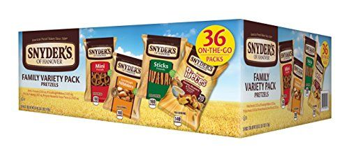 #Snyder's of Hanover is the leading pretzel brand with great tasting varieties to please every palette.  This 36 count variety pack includes 9 bags of 1.5 ounce ...