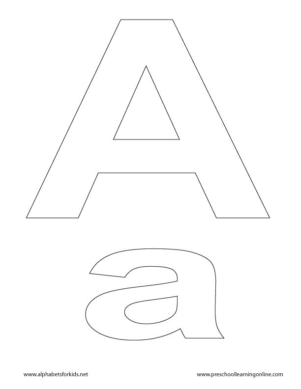 Letter A, lowercase and uppercase for teachers & parents