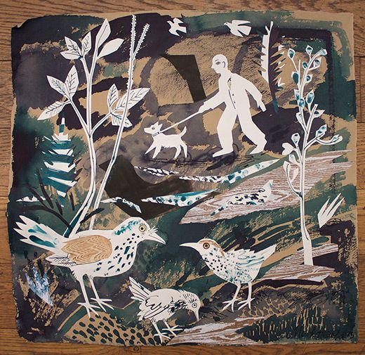 """""""A Walk in the Park"""" by Mark Hearld (New work to be exhibited at York Open Studios: 17,18 & 19 April and 25 & 26 April 2015)"""