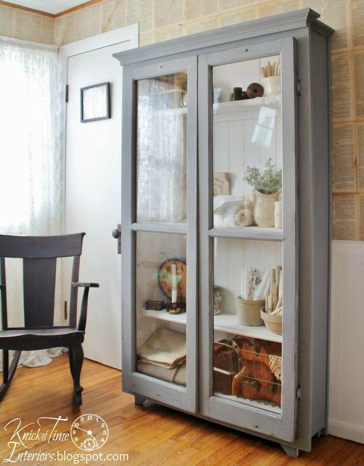 Repurposed windows turned  Antique Cupboard